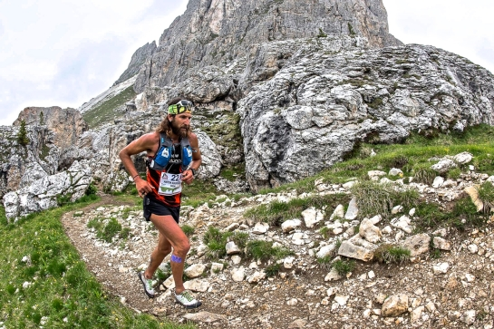 Tony on his way to a first-place finish (12:42:31) at the Lavaredo 199K in Italy. Photo: The North Face Europe